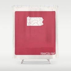 Pennsylvania Minimalist Vintage Map Shower Curtain
