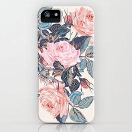 Botanical vector rose illustration in vintage style iPhone Case