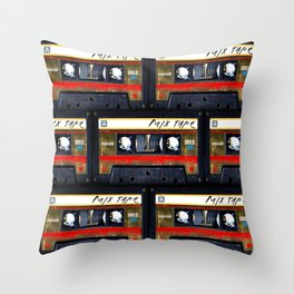 Retro classic vintage gold mix cassette tape Throw Pillow