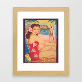 1950's Beach Girl, Waikiki Framed Art Print