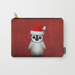 Baby Penguin Wearing a Santa Hat on Red Carry-All Pouch
