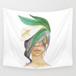 Mujer con alcatraz en el pelo Wall Tapestry