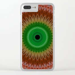 Floral mandala in red and green colours Clear iPhone Case