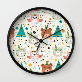 Boho Forest , Woodland Critters Wall Clock