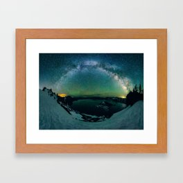 Galactic Rainbow over Crater Lake Framed Art Print