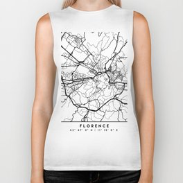 FLORENCE ITALY BLACK CITY STREET MAP ART Biker Tank
