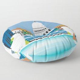 Madison, Wisconsin - Skyline Illustration by Loose Petals Floor Pillow