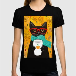 Autumn Black Coffee Cat T-shirt
