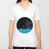 rocket V-neck T-shirts featuring Rocket by Talip Memis