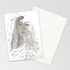 grey face made of pencil and lace Stationery Cards