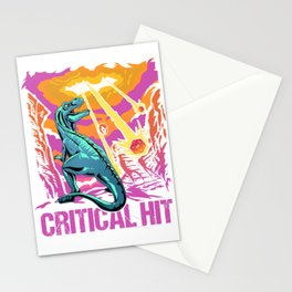 Retro Tabletop Gaming Gift Critical Hit Dragons D20 Dice Print Stationery Cards