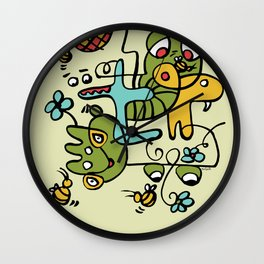 The Buzzz Doodle Monster World by Pablo Rodriguez (Pabzoide) Wall Clock