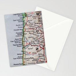 Vintage Oregon Coast Map #traveller #wanderlust #Pacific Stationery Cards