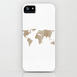World Map - Beige Watercolor Minimal on White iPhone Case