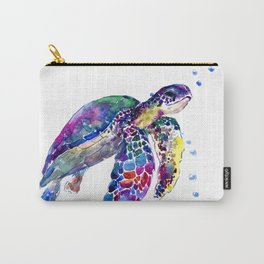 Sea Turtle Rainbow Colors, turtle design illustration artwork animals Carry-All Pouch