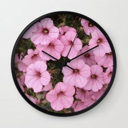 Sweet Pink Flowers (Vintage Petunias) Wall Clock