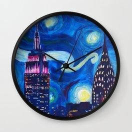 Starry Night in New York - Van Gogh Inspirations in Manhattan Wall Clock
