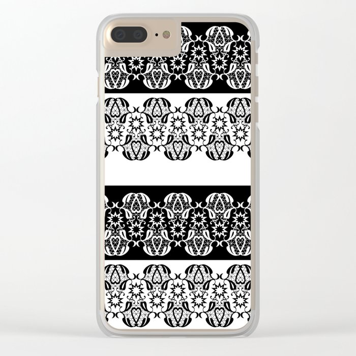 Black and white lace pattern . Clear iPhone Case