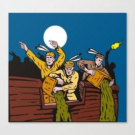 Boston Tea Party Raiders Retro Canvas Print
