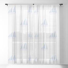 Pale Blue Sailboat Pattern Sheer Curtain