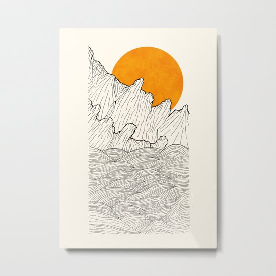 The great sun over the sea cliffs Metal Print