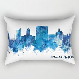 Beaumont Texas Skyline Blue Rectangular Pillow
