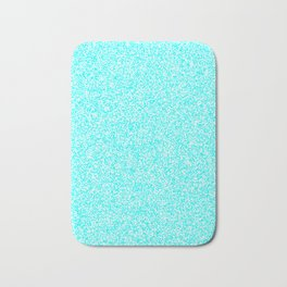 Spacey Melange - White and Aqua Cyan Bath Mat