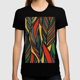 Tropical color leaves pattern T-shirt
