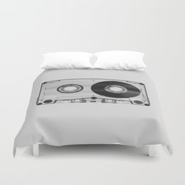Vintage 80's Cassette - Black and White Retro Eighties Technology Art Print Wall Decor from 1980's Duvet Cover