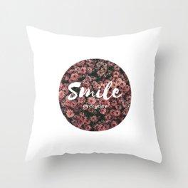 laugh every day smile everyday flower rose rosen Throw Pillow