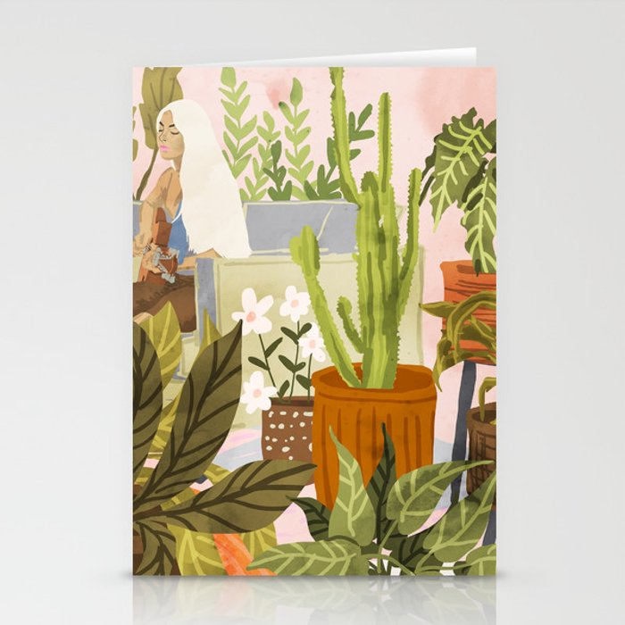 Playing For My Plants Stationery Cards by Society6