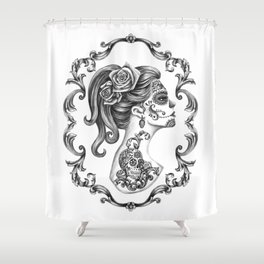 Sugar Skull Girl Cameo Shower Curtain