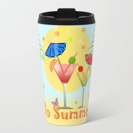 Hello Summer, vector illustration with text Travel Mug