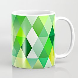 Lime Green Yellow White Diamond Triangles Mosaic Pattern Coffee Mug