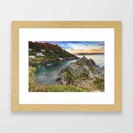 Sunset in Polperro, Cornwall Framed Art Print