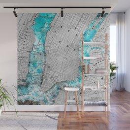 NEW YORK CITY OCEAN MAP Wall Mural
