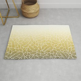 Faded yellow and white swirls doodles Rug