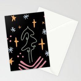 Xmas Tree at Night Abstract. Mid century modern Boho shapes pattern Stationery Cards