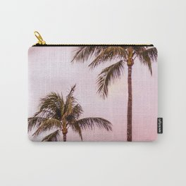 Palm Tree Photography | Landscape | Sunset Unicorn Clouds | Blush Millennial Pink Carry-All Pouch