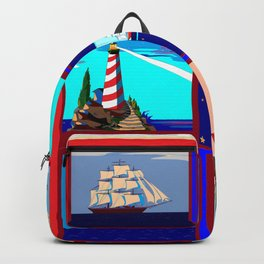A Nautical Quilt with Ships, Lighthouses and Anchors Backpack
