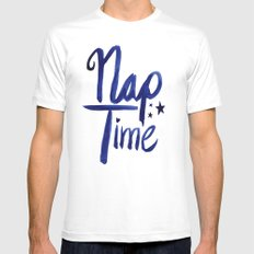Nap Time | Lazy Sleep Typography White Mens Fitted Tee MEDIUM