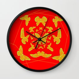 Golden Monarch Butterflies on Chinese Red Abstract Wall Clock