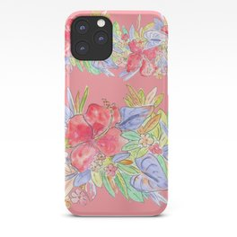 hawaiian flowers red pink iPhone Case
