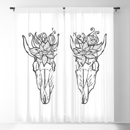 Vintage bull skull with flower on her head Blackout Curtain