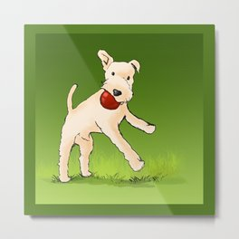 Terrier playing with ball Metal Print