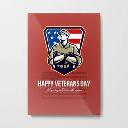 American Soldier Veterans Day Greeting Card Metal Print