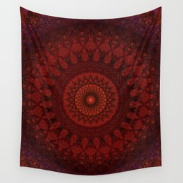 Dark and light red mandala Wall Tapestry