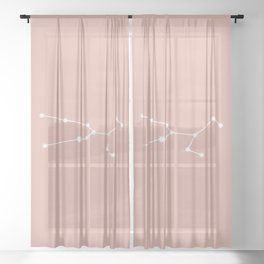 Taurus Zodiac Constellation - Pink Rose Sheer Curtain