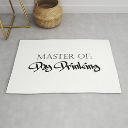 Master of Day Drinking Humorous Minimal Typography Black and White Rug