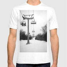 Up The Mountain MEDIUM White Mens Fitted Tee